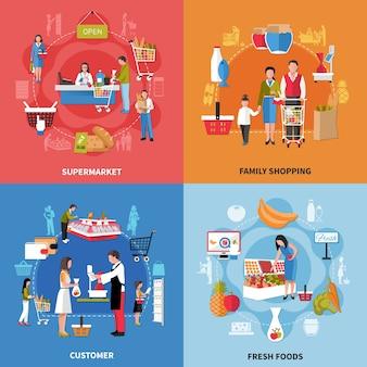Concepto de diseño de personas de supermercado con compras familiares, alimentos frescos, vendedor y cliente, caja aislada