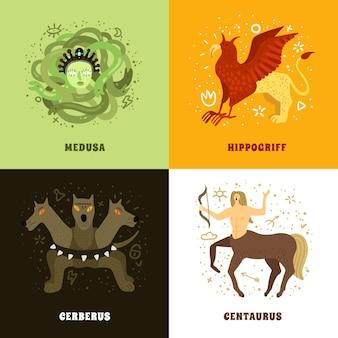 Concepto de diseño plano 2x2 con criaturas míticas.
