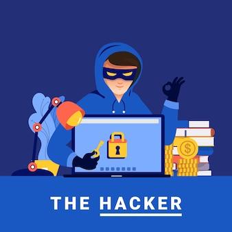 Concepto de diseño plano actividad hacker ladrón cibernético en dispositivo de internet
