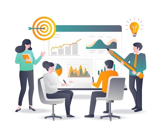 Concepto de diseño plano análisis de datos de productos y optimización y reunión de seo