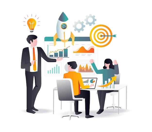 Concepto de diseño plano análisis de datos de productos y optimización seo
