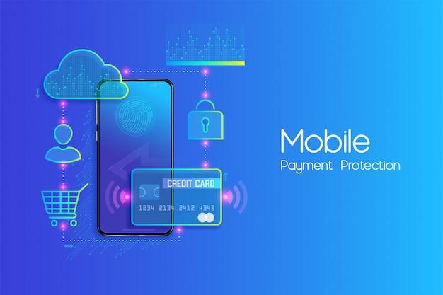 Concepto de diseño plano de banca móvil en línea y banca por internet, sociedad sin efectivo, transacción de seguridad mediante tarjeta de crédito y pago digital con vector de sistema seguro