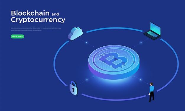 Concepto de diseño plano blockchain y tecnología de criptomonedas