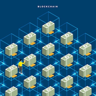 Concepto de diseño plano blockchain