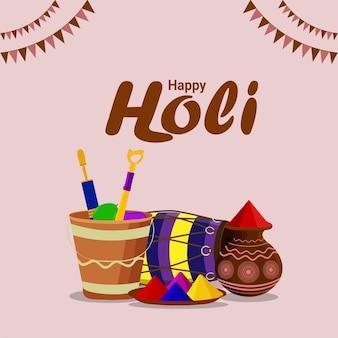 Concepto de diseño plano de celebración feliz holi
