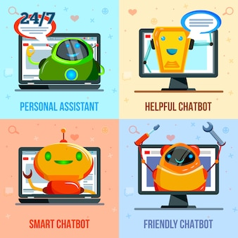 Concepto de diseño plano de chat bot