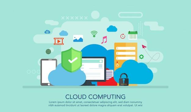 Concepto de diseño plano de computación en la nube, fondo de concepto de página de aterrizaje