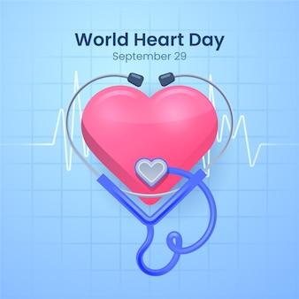 Concepto de diseño plano del día mundial del corazón