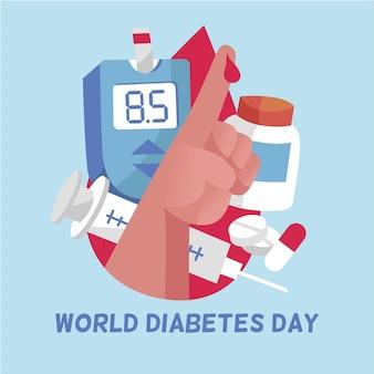 Concepto de diseño plano del día mundial de la diabetes