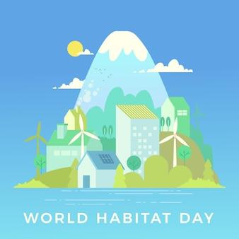 Concepto de diseño plano del día mundial del hábitat