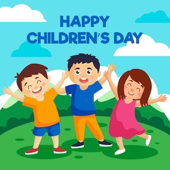 Concepto de diseño plano del día mundial del niño.