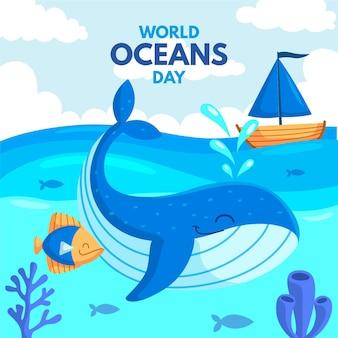 Concepto de diseño plano del día mundial de los océanos