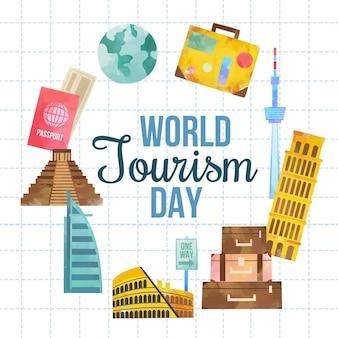 Concepto de diseño plano del día mundial del turismo