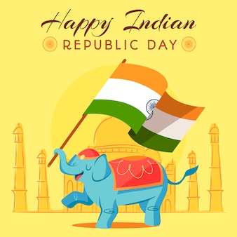 Concepto de diseño plano del día de la república india