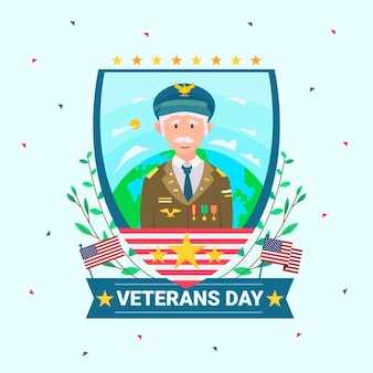 Concepto de diseño plano del día de los veteranos
