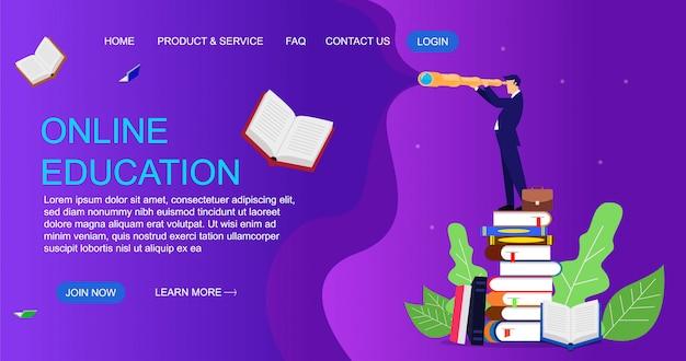 Concepto de diseño plano de educación para el sitio web y la plantilla de página de destino. ilustración de educación en línea.