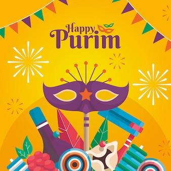 Concepto de diseño plano feliz día de purim
