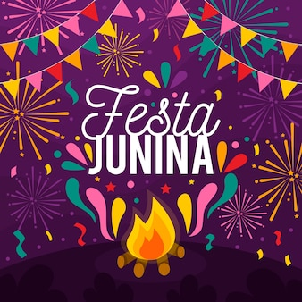 Concepto de diseño plano festa junina