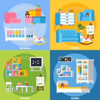 Concepto de diseño plano de la habitación del bebé