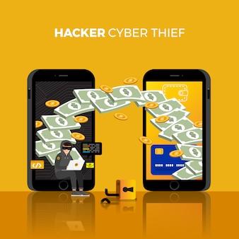 Concepto de diseño plano hacker actividad ciber ladrón en dispositivo de internet. ilustrar.