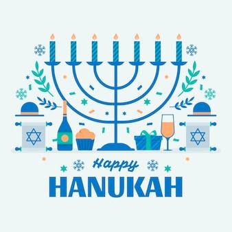 Concepto de diseño plano de hanukkah