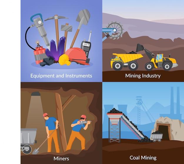 Concepto de diseño plano de la industria minera