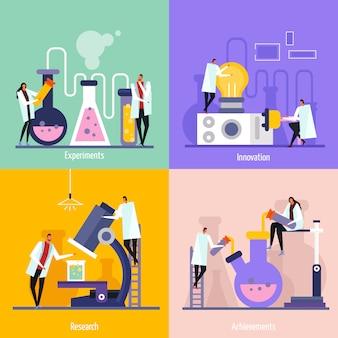 Concepto de diseño plano de laboratorio de ciencias con experimentos, innovación, investigación y logros.