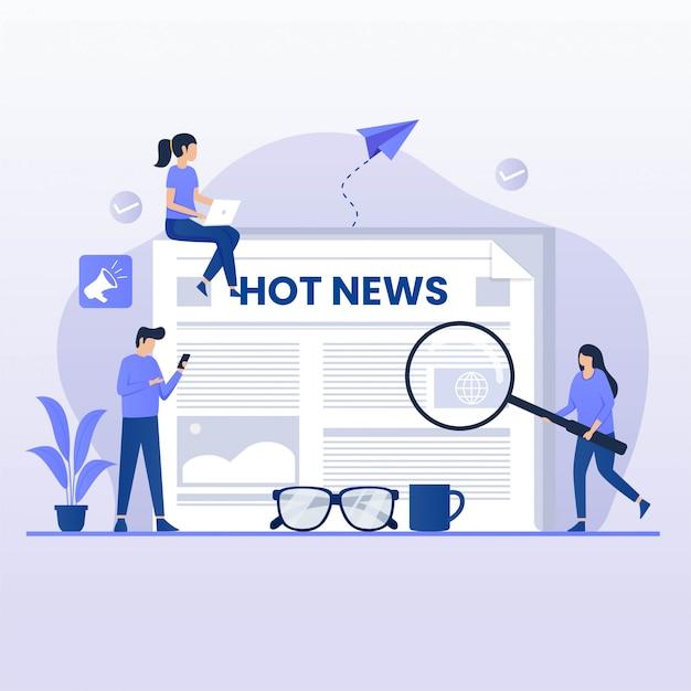 Concepto de diseño plano leer noticias. ilustración