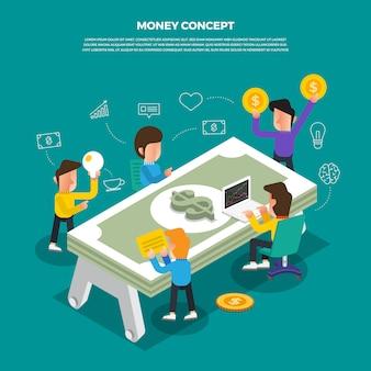 Concepto de diseño plano lluvia de ideas trabajando en el icono de escritorio dinero. ilustrar.