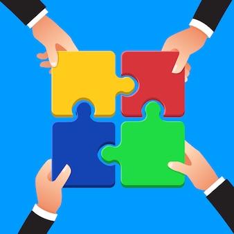 Concepto de diseño plano manos trabajo en equipo construyendo negocios de éxito con el símbolo de rompecabezas. ilustrar.