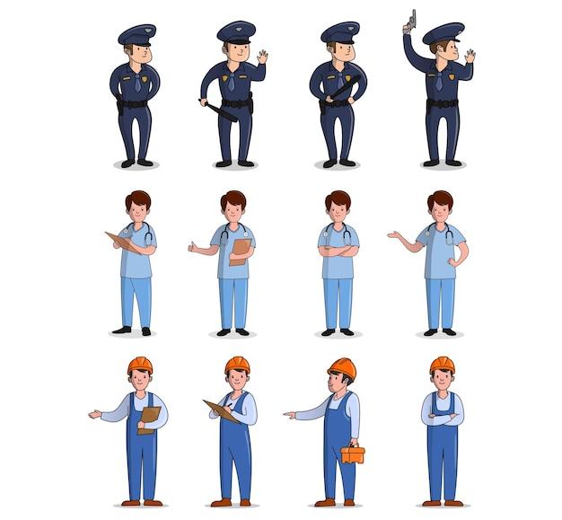Concepto de diseño plano de médico policía trabajador con diferentes poses