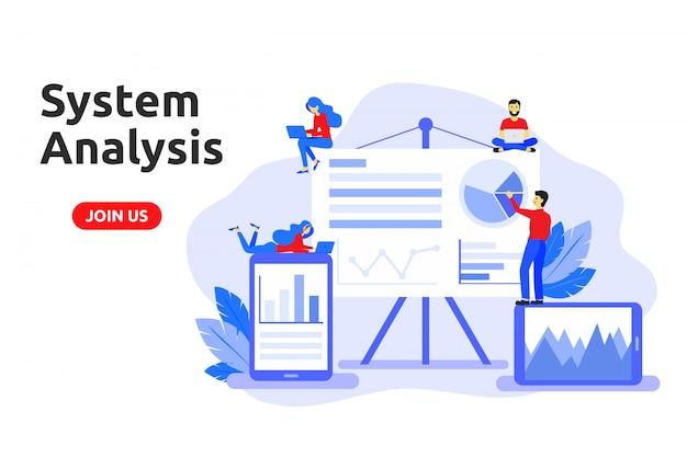 Concepto de diseño plano moderno para el análisis del sistema.