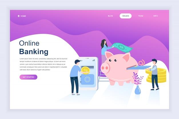 Concepto de diseño plano moderno de la banca en línea para el sitio web
