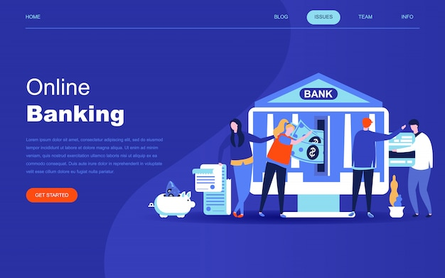 Concepto de diseño plano moderno de la banca en línea.