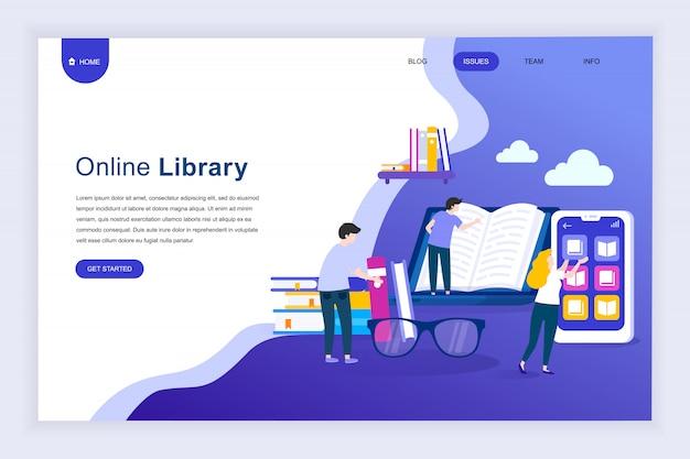 Concepto de diseño plano moderno de la biblioteca en línea para el sitio web