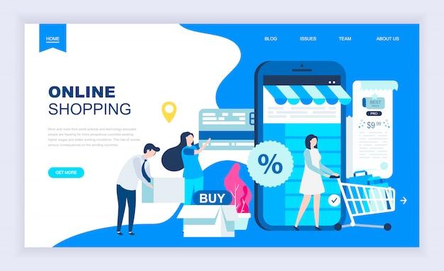 Concepto de diseño plano moderno de compras en línea