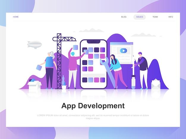 Concepto de diseño plano moderno de desarrollo de aplicaciones.