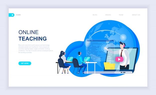 Concepto de diseño plano moderno de la enseñanza en línea.