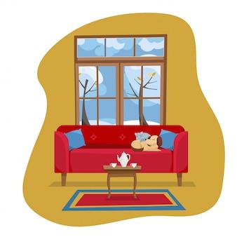 Concepto de diseño plano moderno interior de la sala de estar. ilustración de dibujos animados plana