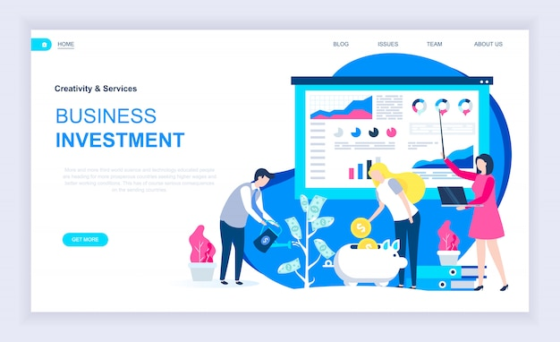 Concepto de diseño plano moderno de inversión empresarial.