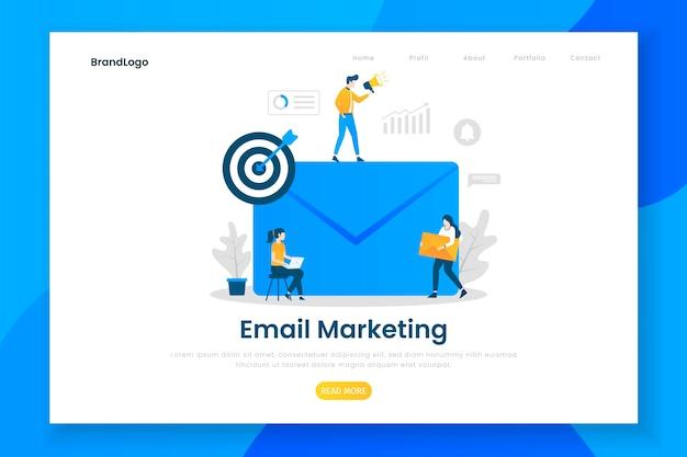 Concepto de diseño plano moderno de marketing por correo electrónico