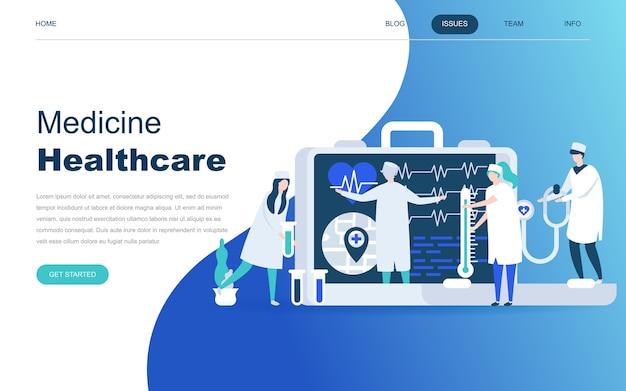Concepto de diseño plano moderno de la medicina en línea
