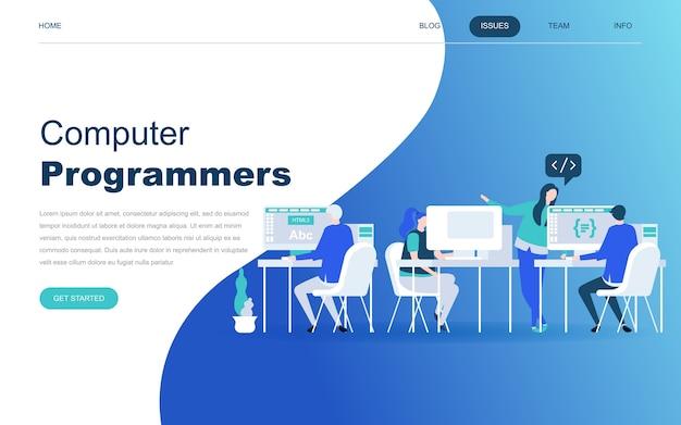 Concepto de diseño plano moderno de programadores informáticos
