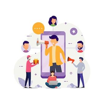 Concepto de diseño plano de negocio de red de marketing de referencia