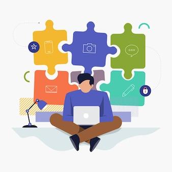 Concepto de diseño plano personas que trabajan con computadora portátil y gráfico de fondo presente trabajos de contratación