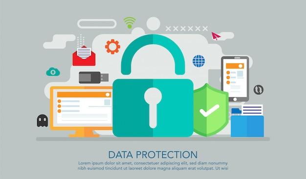 Concepto de diseño plano de protección de datos, fondo de concepto de página de aterrizaje