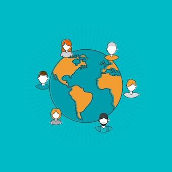 Concepto de diseño plano para red social.