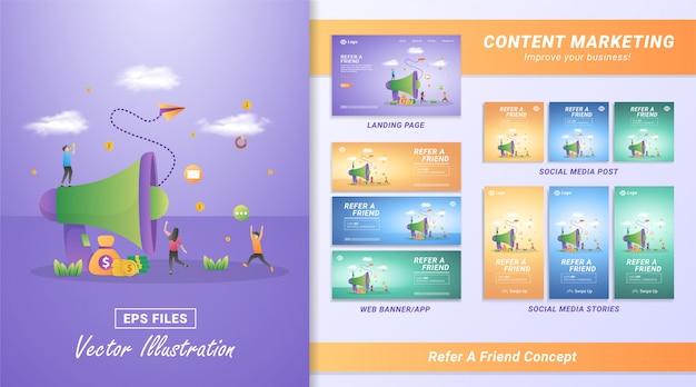 Concepto de diseño plano de referir a un amigo. las personas invitan a amigos a unirse, un programa de referencia para hacer dinero y premios imposibles.