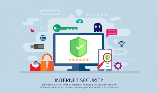Concepto de diseño plano de seguridad de internet, fondo de concepto de página de aterrizaje