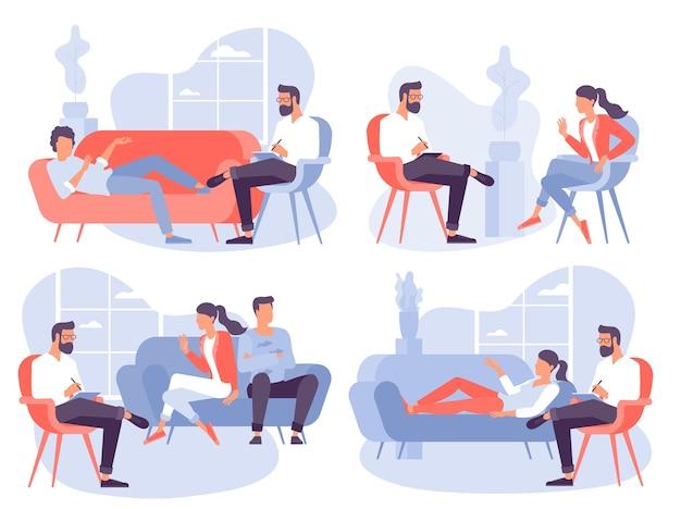 Concepto de diseño plano para sesión de psicoterapia. paciente con psicólogo, consultorio de psicoterapeuta. sesión de psiquiatra en clínica de salud mental.